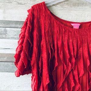 Sunny Leigh Tops - Sunny Leigh rust ruffle top short sleeve XL